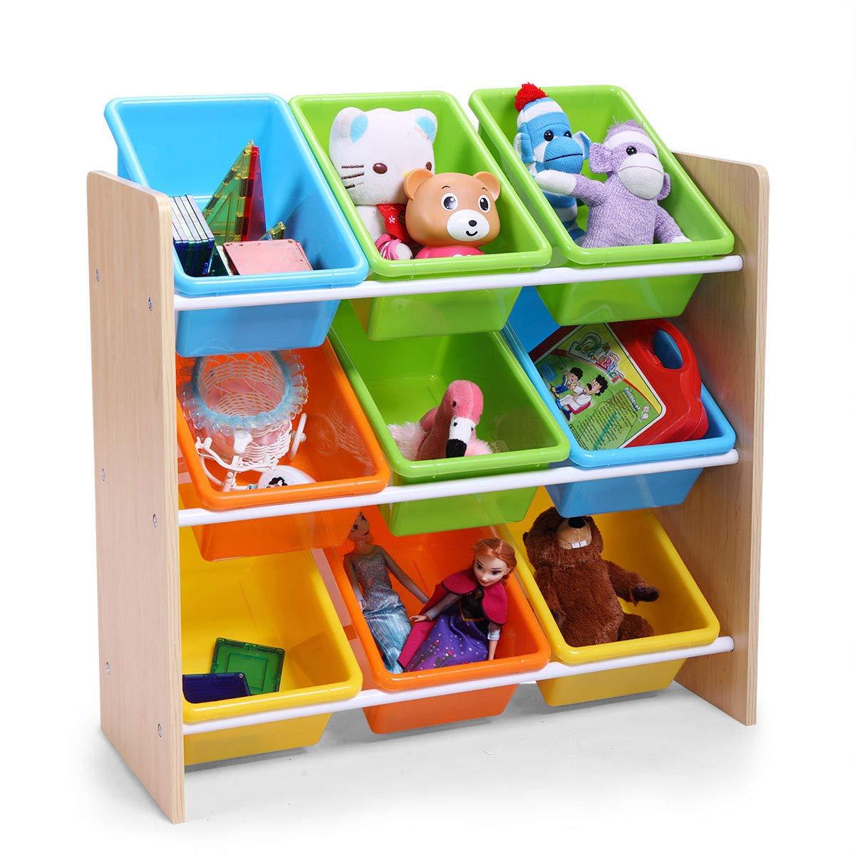 Multi-Color Toy Boxes Bins Organizer Kids Storage Playroom Bedroom Shelf