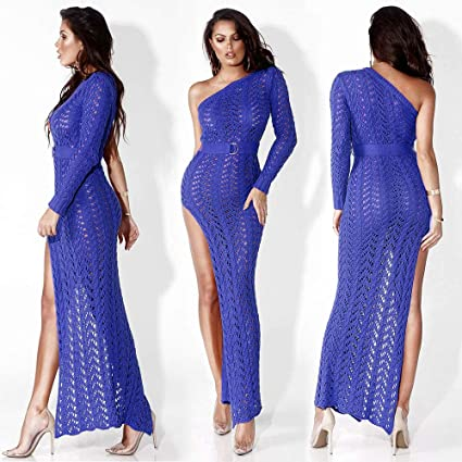 5dfc80f930 Ruimin 1PC Women One Shoulder Crochet Dress Sexy High Slit Crochet Swimsuit  Beach Cover Ups Size