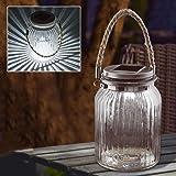 Solalite - Set di 2 lampade a LED ad energia solare, in vetro, a forma di lanterna, decorazione da tavolo o da appendere
