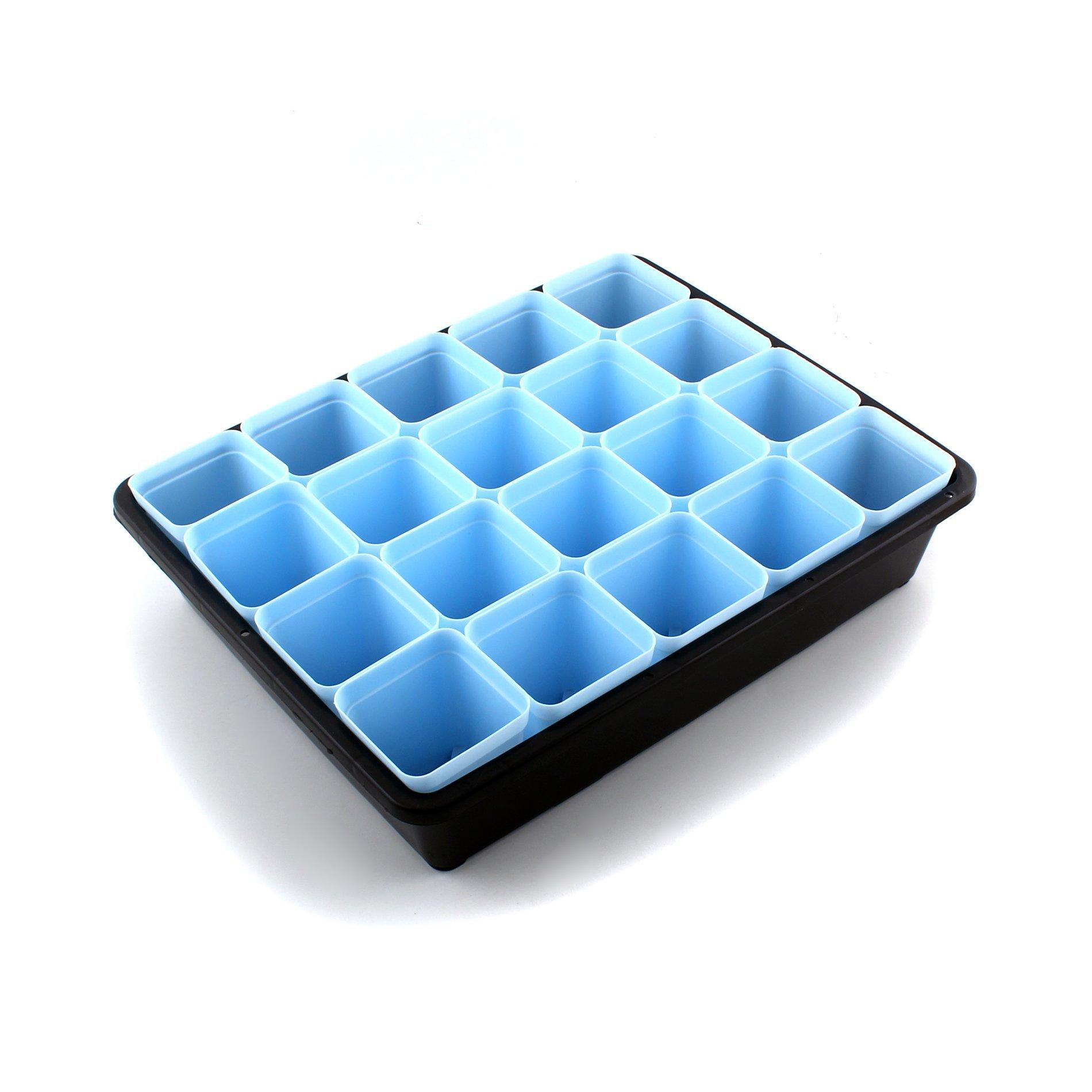IDS Plant Seedling Starter Trays Planting Trays + Blue Square Seed Starter Pot