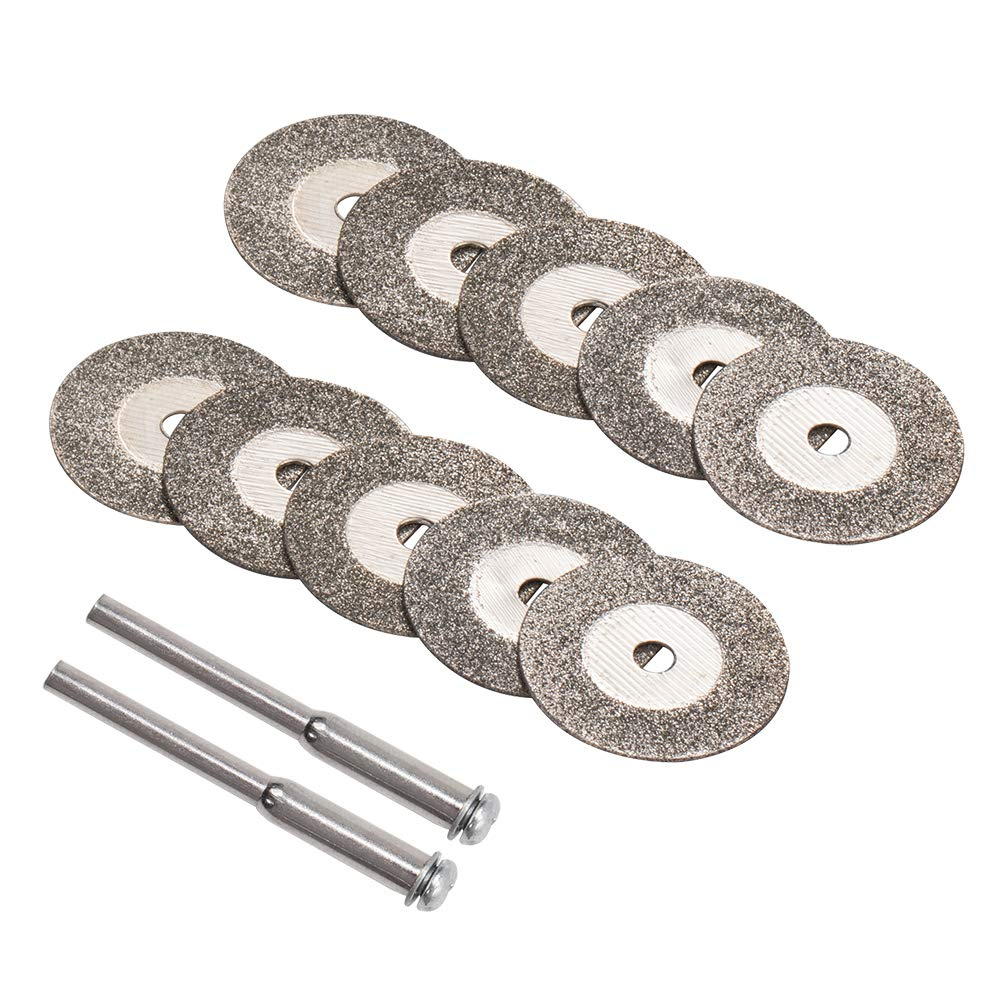 INCREWAY 10 unidades de discos de corte de diamante de 20 mm con 2 mandriles para herramienta giratoria