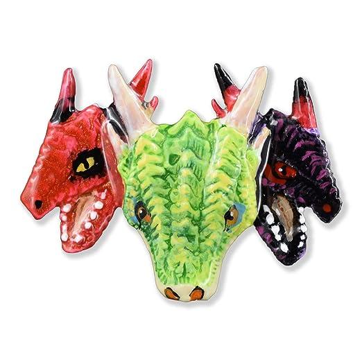 Imán para nevera, diseño de tres cabezas de dragón, peltre ...