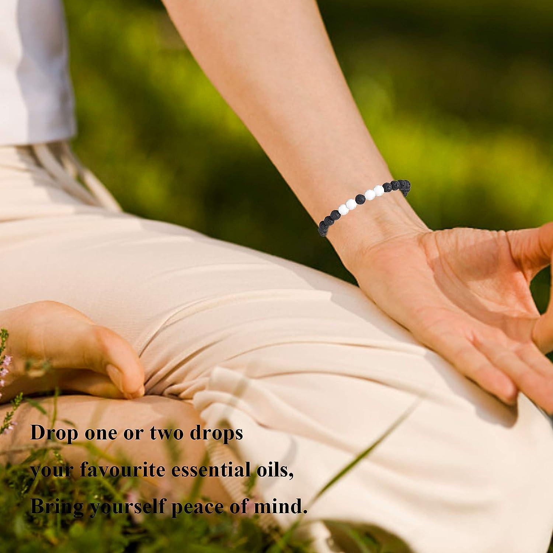 Milacolato 7 Pcs Lava Rock Bracelets pour Hommes Femmes Naturel Pierre Stretch /Élastique Bracelets Corde Tress/ée R/églable Diffuseur Dhuile Essentielle Yoga Bracelet Corde Tress/ée
