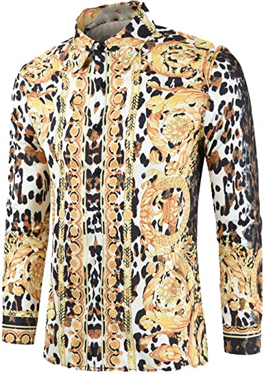 NOBRAND Camisa de leopardo de manga larga para hombre ...