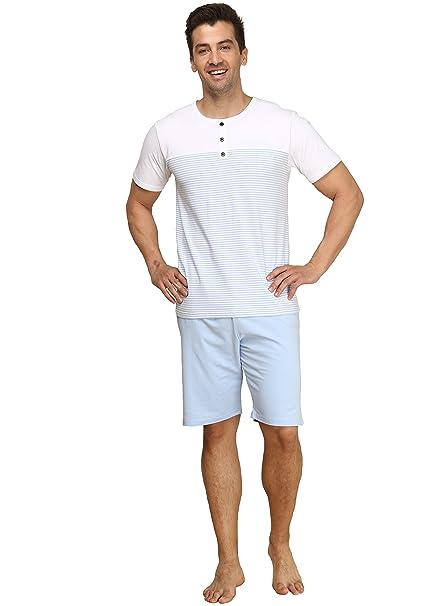 Suntasty Pijama Ropa de Dormir para Hombre Hombre Del Pijama Conjunto(White,L,