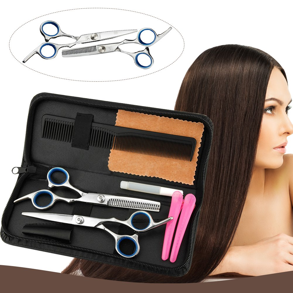 Hair Cutting Shears, Professional Haircutting Scissors, Barber/Salon/Home Thinning Shears Kit with a Black Case, Razor Sharp Stainless Steel & Fine Adjustment Tension Screw, Size 6.0 (1) Size 6.0 (1) ToullGo Store