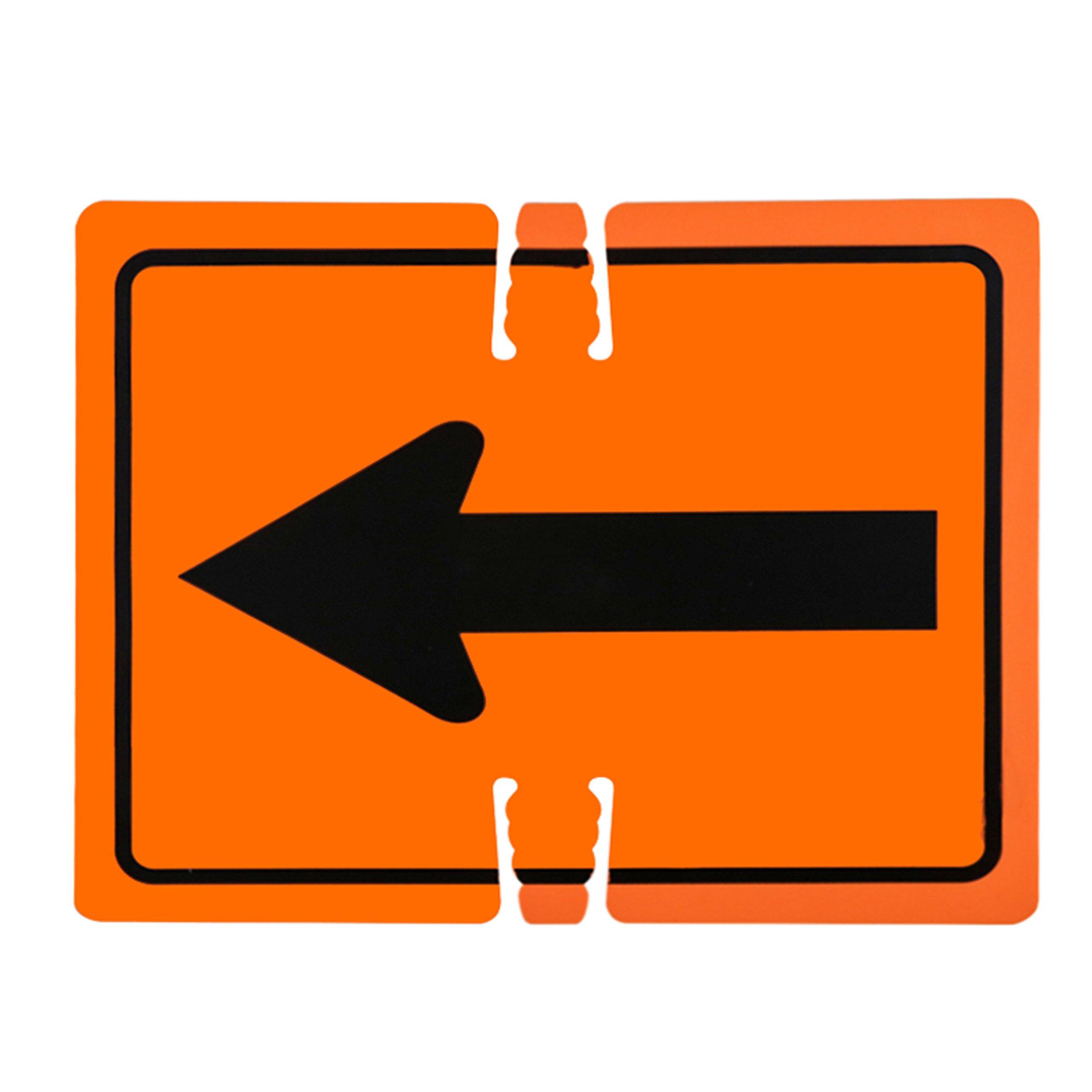 RK Traffic Cone Sign 21 Legend ''Left Arrow'', 18'' Width x 14'' Height, Black on Orange