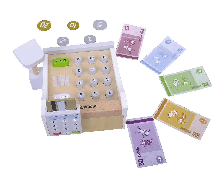 Caja registradora Incluye escáner - Dinero y Tarjeta de Crédito juguete - En madera- Medidas: 13 x 16 x 10 cm: Amazon.es: Juguetes y juegos