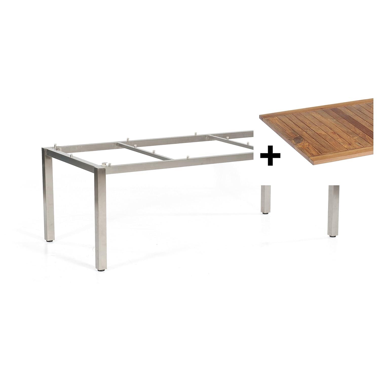 Sonnenpartner Gartentisch System Base Select Edelstahl Old Teak 200 x 100 cm