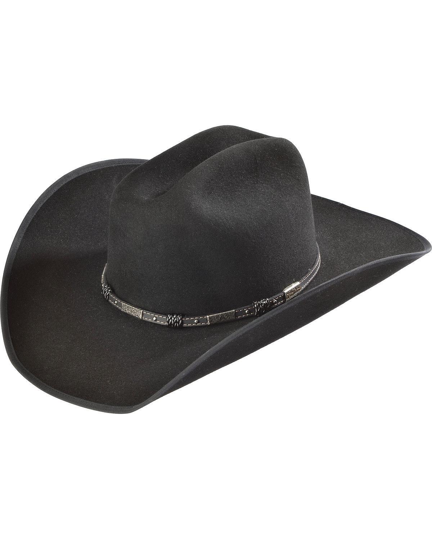 Justin Men's Bent Rail 7X Dagger Fur Felt Cowboy Hat Black 6 7/8