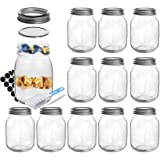 SXUDA 16 oz Mason Jars with Silver Lids and Bands Regular Mouth Canning Jars for Jam, Honey, Jelly, Wedding Favors, Shower Fa