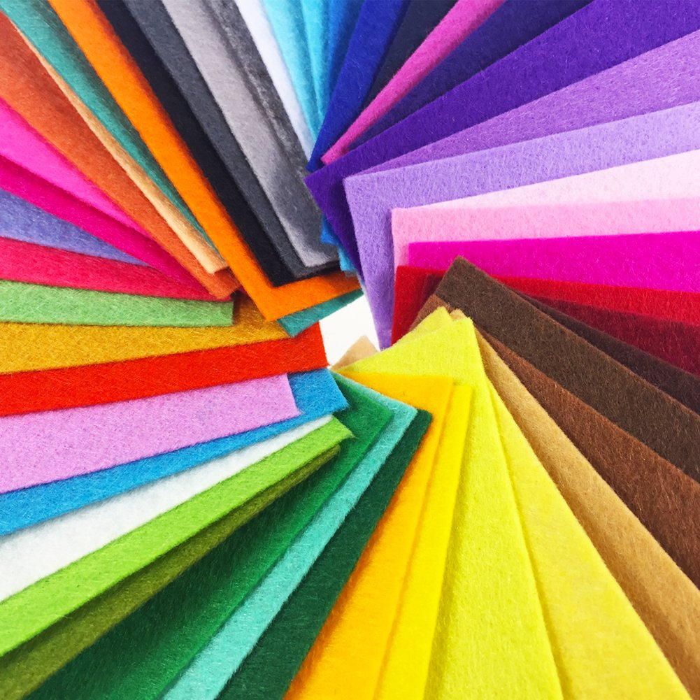 15cm 15cm, 48pcs 15 x 15cm flic-flac 48PCS 6 x 6 inches Assorted Color Felt Fabric Sheets Patchwork Sewing DIY Craft 1mm Thick /…