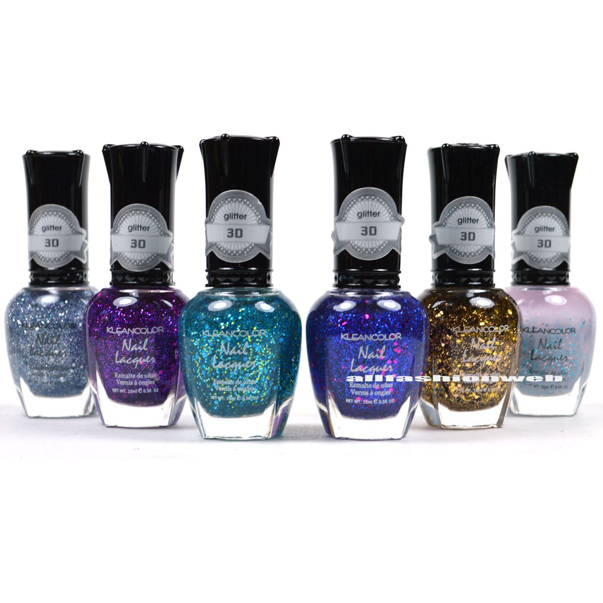 KLEANCOLOR NAIL POLISH 3D ADDICTION GLITTER TOP COAT LOT OF 6 COLORS KNP16 + FREE EARRING