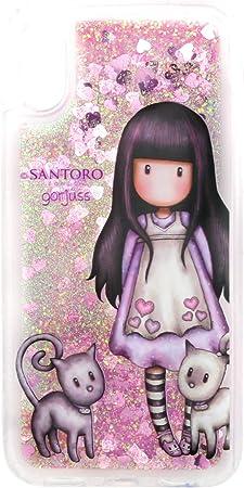 Santoro Gorjuss Coque pour iPhone X / XS en relief en TPU résistant aux chocs avec toucher doux pour femme et fille Rose/paillettes