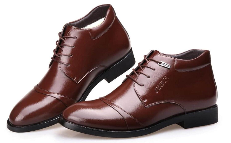 Herbst Und Winter Herren Lederstiefel Stiefel Baumwollstiefel England Business Lederstiefel Herren Plus Cashmere Warm Männer Helfen Hoch Baumwollschuhe Braun 6d777c