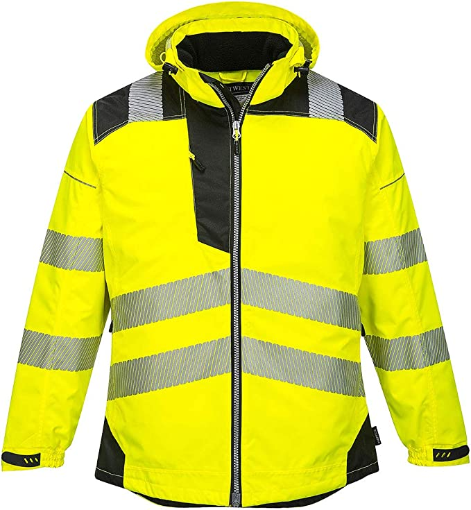 Hi-Vis Outdoor Workwear 2-Tone Breathable Jacket With Pack Away Hood Portwest