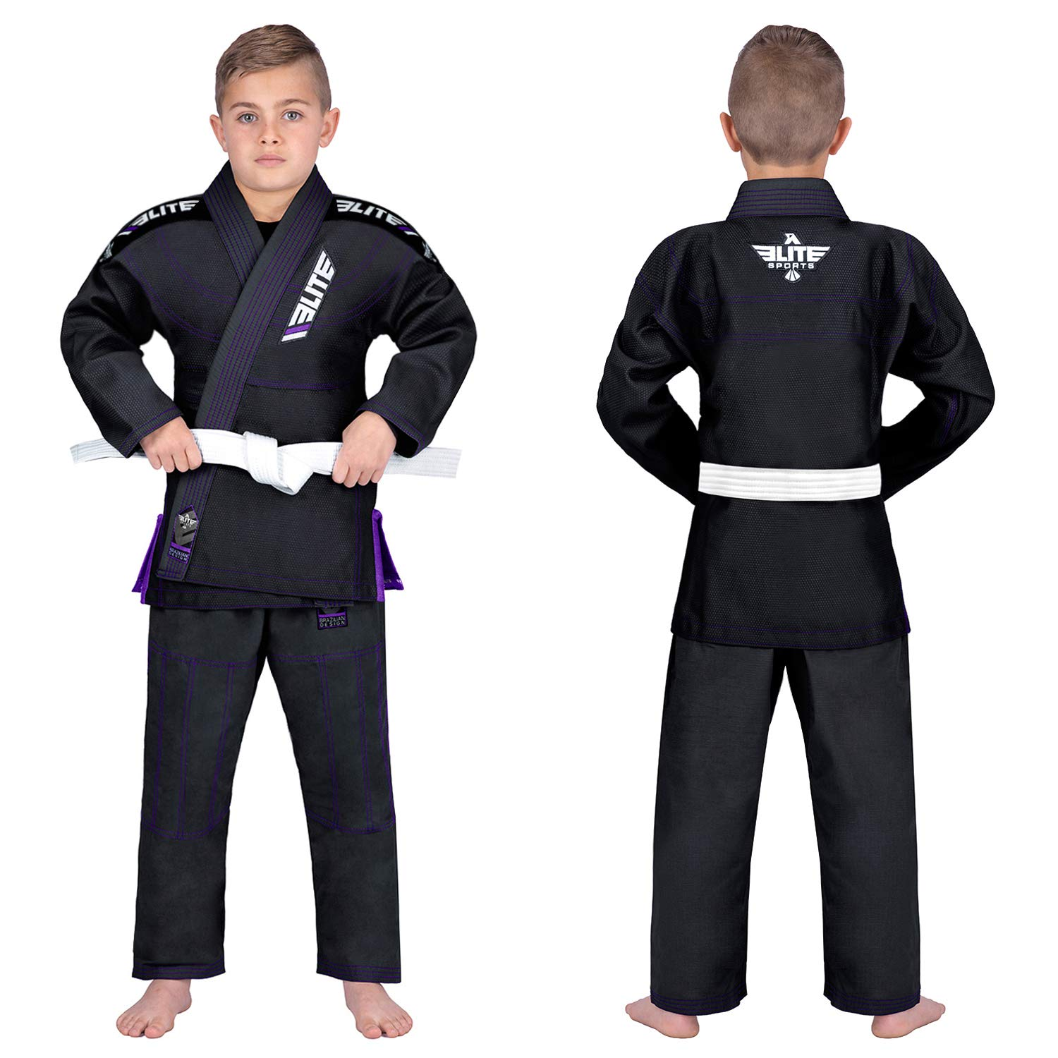 Elite Sports IBJJF Ultra Light BJJ Brazilian Jiu Jitsu Gi for Kids w/Preshrunk Fabric & Free Belt
