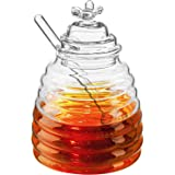 Hedume Honey Jar with Dipper and Lid, Honey Bee Pot, Glass Beehive Honey Pot for Home Kitchen, 17oz