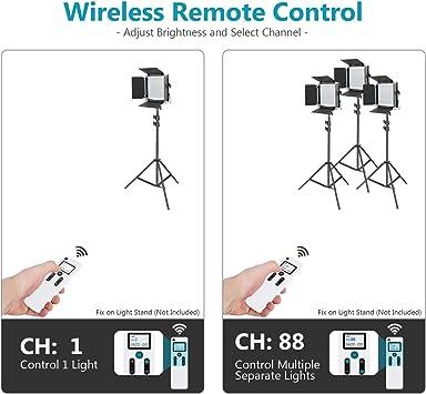 Neewer 3 Packs 2,4G 480 LED Video Luz Fotografía Kit Iluminación Panel LED Bicolor Regulable con Pantalla LCD Control Remoto Inalámbrico Soporte Luz ...