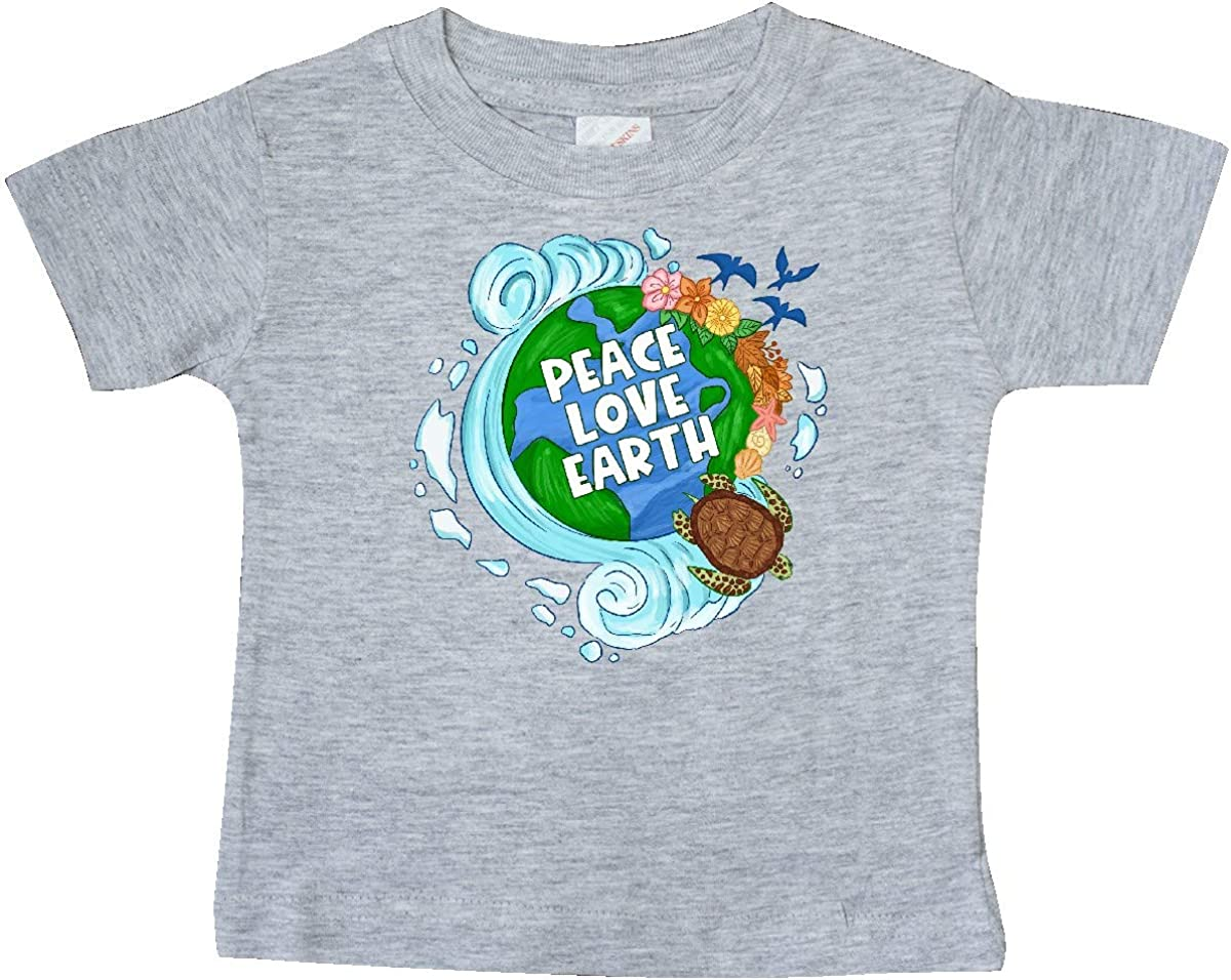 inktastic Earth Day Peace Love Earth with Turtle and Waves Baby T-Shirt