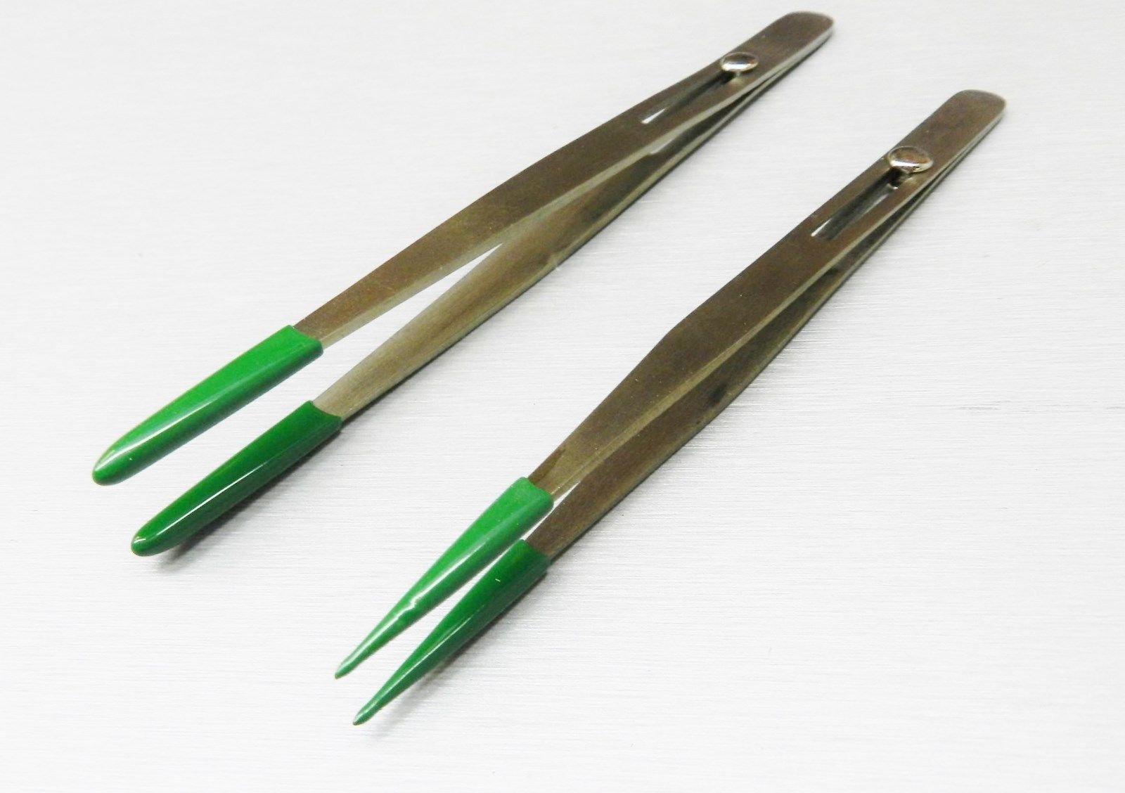 TWEEZERS SLIDE LOCKING PVC RUBBER TIPPED SET 2 Pcs - POINTED & BLUNT NON MARRING (E2)