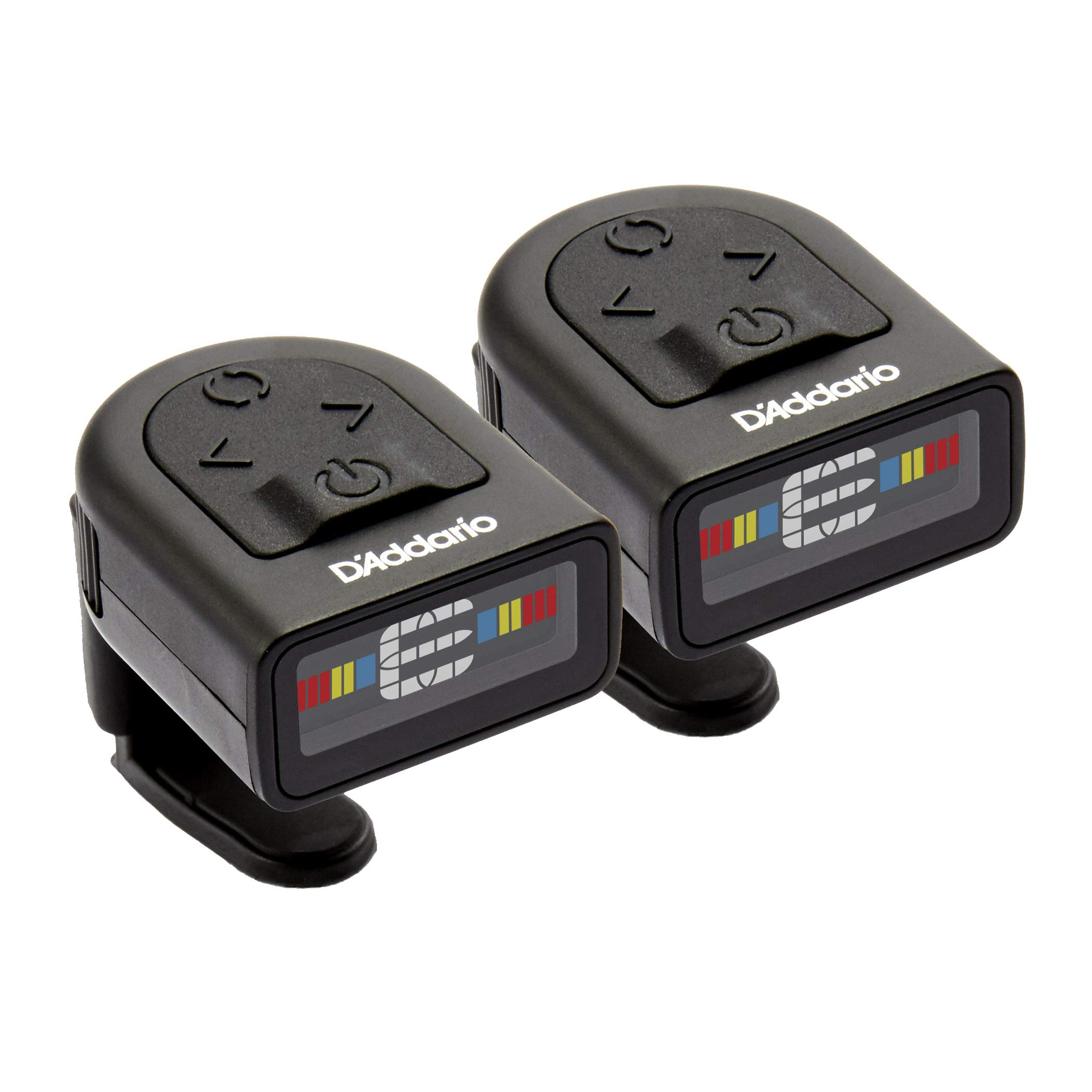 D'Addario NS Micro Clip-On Tuner, 2-Pack- Highly Precise, Easy to Read, Clip-On Tuner for Guitar, Mandolin, Bass and More -Wide Calibration Range and Metronome -Compact Low-Profile Design