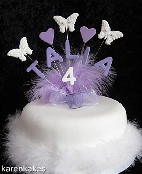 Personalised Butterfly star custom birthday christening cake topper,