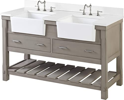Charlotte 60-inch Double Bathroom Vanity Quartz/Weathered Gray : Includes Weathered Gray Cabinet
