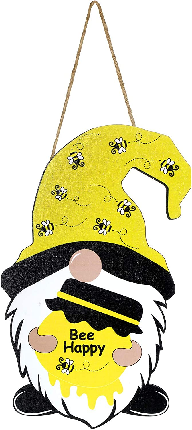 Jetec Bumble Bee Gnomes Hanging Board Sign Wooden Gnome Door Hanger Bee Happy Home Farmhouse Decor Wall Decorations for Spring Summer Front Door Porch Decor, 11.8 x 7.7 Inch