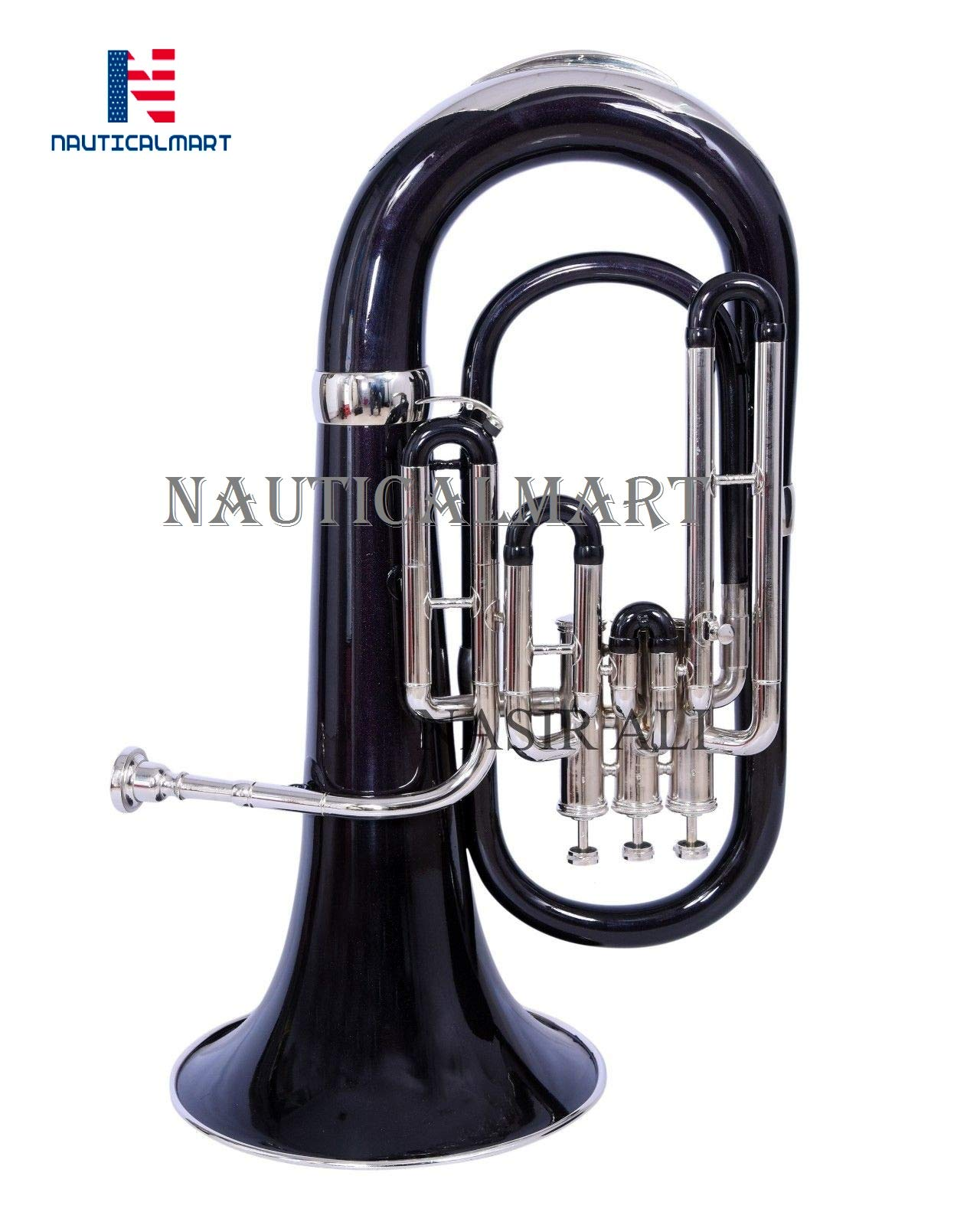NauticalMart Nickel Bb Euphonium 3 Valve - Black Shade