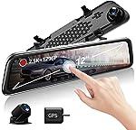 "KooBaCar 12"" 1296P Mirror Dash Cam for Cars with GPS/Rear Cam,"