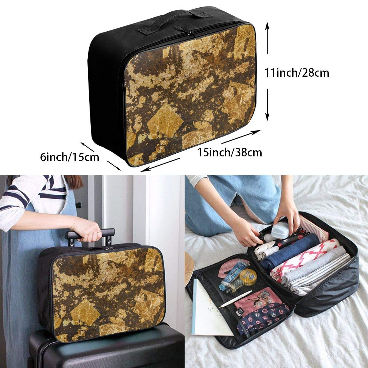 Gold Broken Glass Texture Vintage Travel Lightweight Waterproof Folding Storage Portable Luggage Duffle Tote Bag Large Capacity In Trolley Handle Bags 6x11x15 Inch