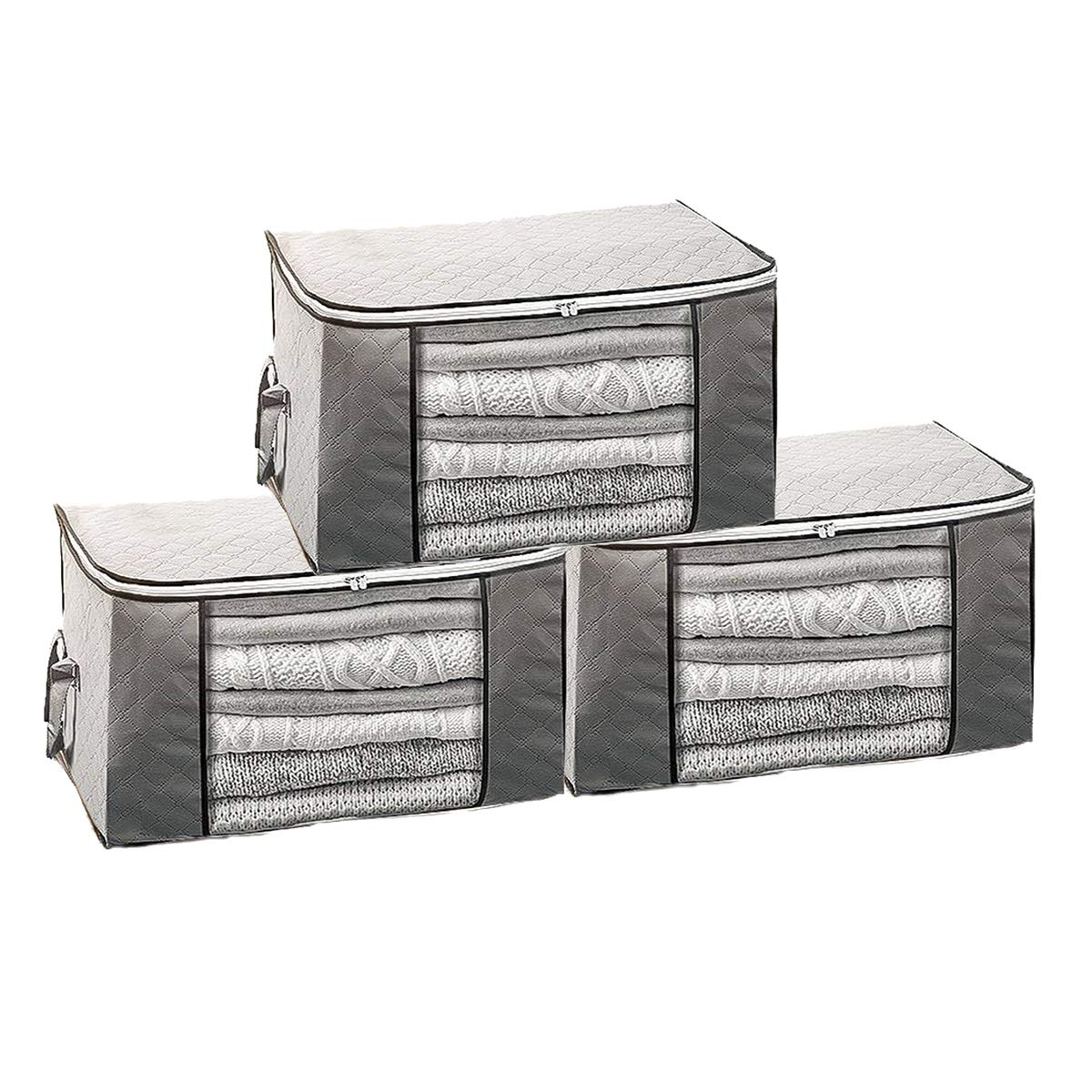 VAKADO Foldable Comforter Storage Bag Organizers Containers Clear Window & Carry Handles Blankets, Clothes, Bedding, Closets, Under Bed (3 Pack, Grey)