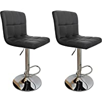 Chotto 2X Bar Stools Gas Lift Height Adjustable Swivel Kitchen Chairs Leather Chrome Black