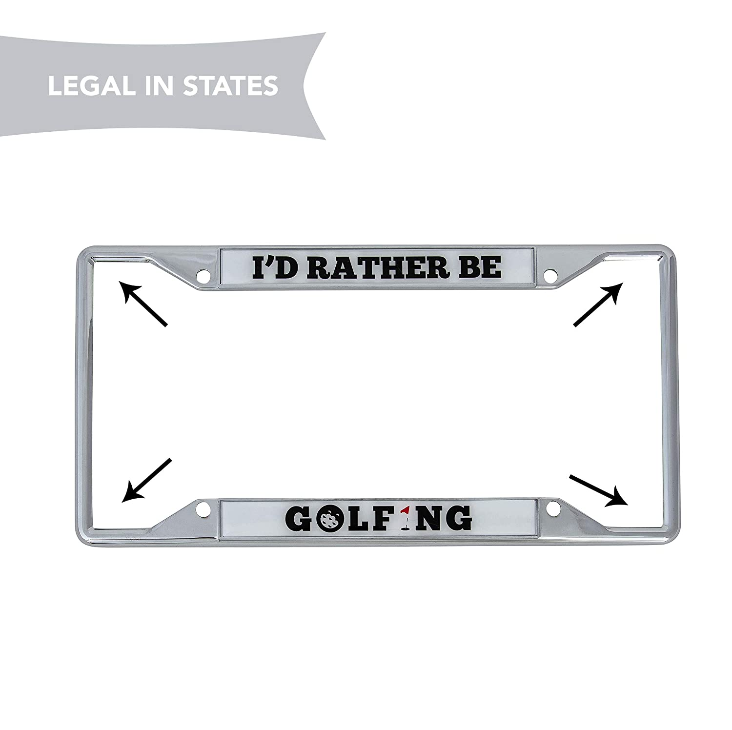 Desert Cactus Id Rather Be Golfing Metal Auto License Plate Frame Car Tag Holder