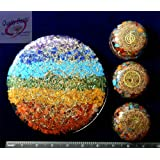 Charged Chakra  Orgone Combo Set LARGE 6 3/4 inch Round Vaastu Plate and 3  Dome Disks with Reiki Tree, Choko Reiki and OM symbols 2 1/2 inches Gemstones Copper Metal Mix Reiki Chakra