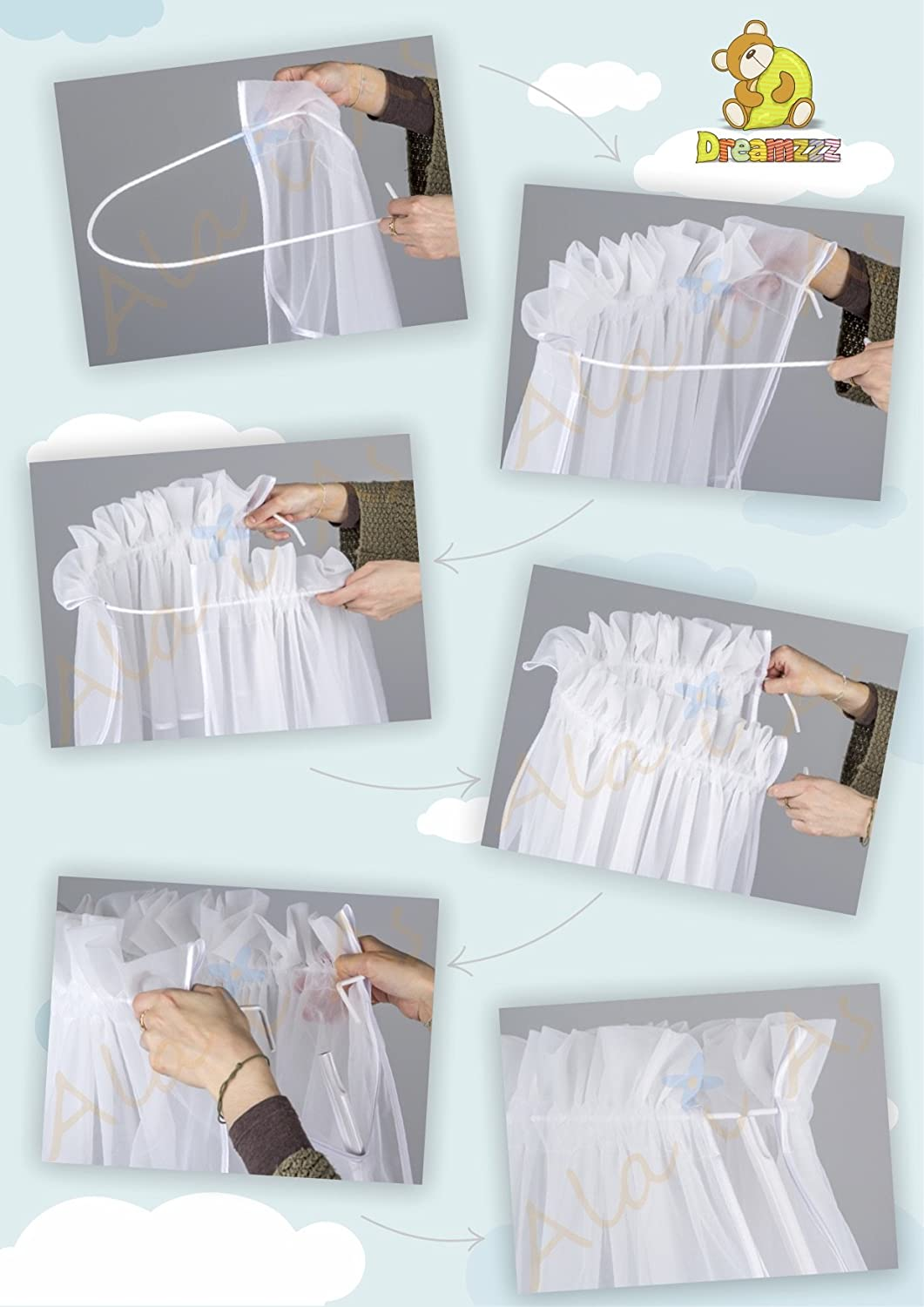 Holder 3 element set Lovely Canopy//Mosquito Net for Baby Cot Bed Crib hanging Decorations Designed by Dreamzzz handmade