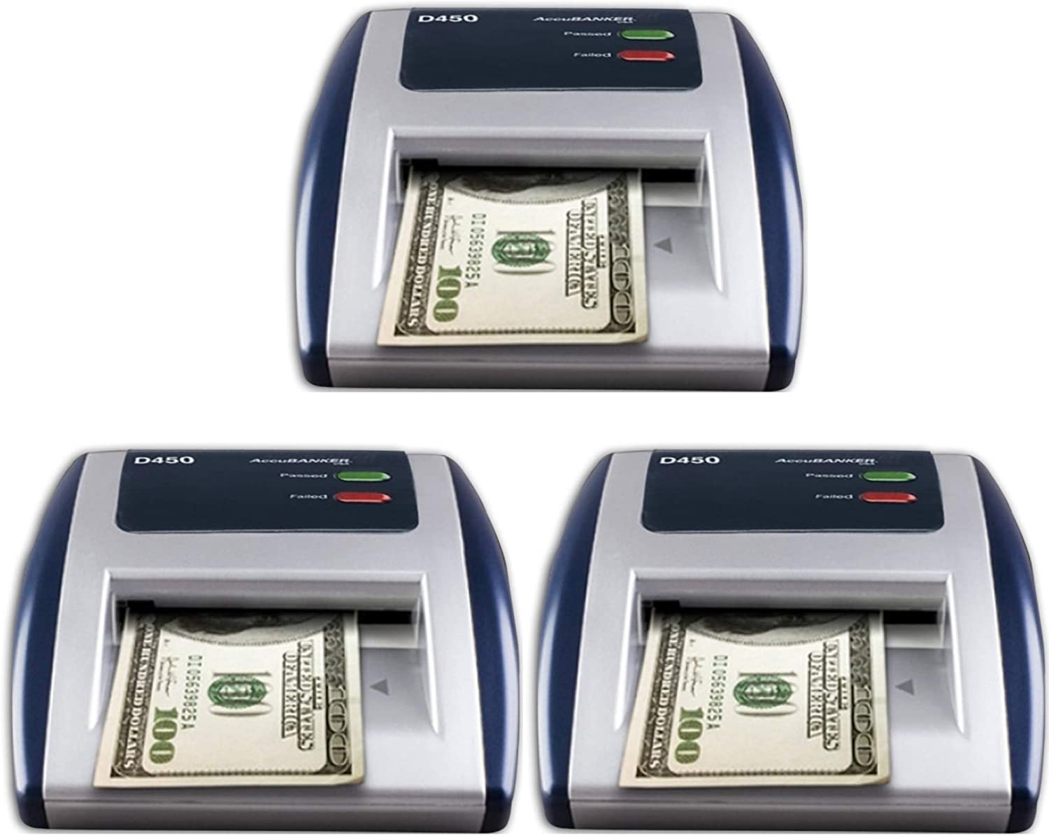AccuBANKER D450 Pack of 3 Counterfeit Bill Scanner Detector, Immediate banknote verification, Reduces Counterfeit Losses Due to Human Error, Multi-detection Function