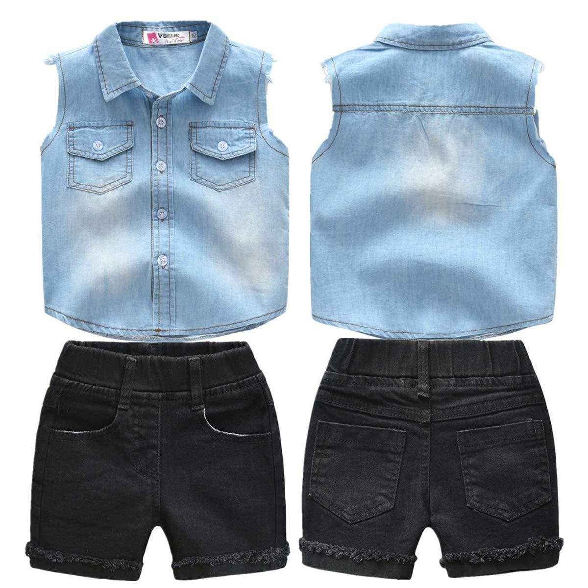 Mornyray Kids Boys Summer 2Pcs Casual Short Set Denim Vest+Denim Shorts