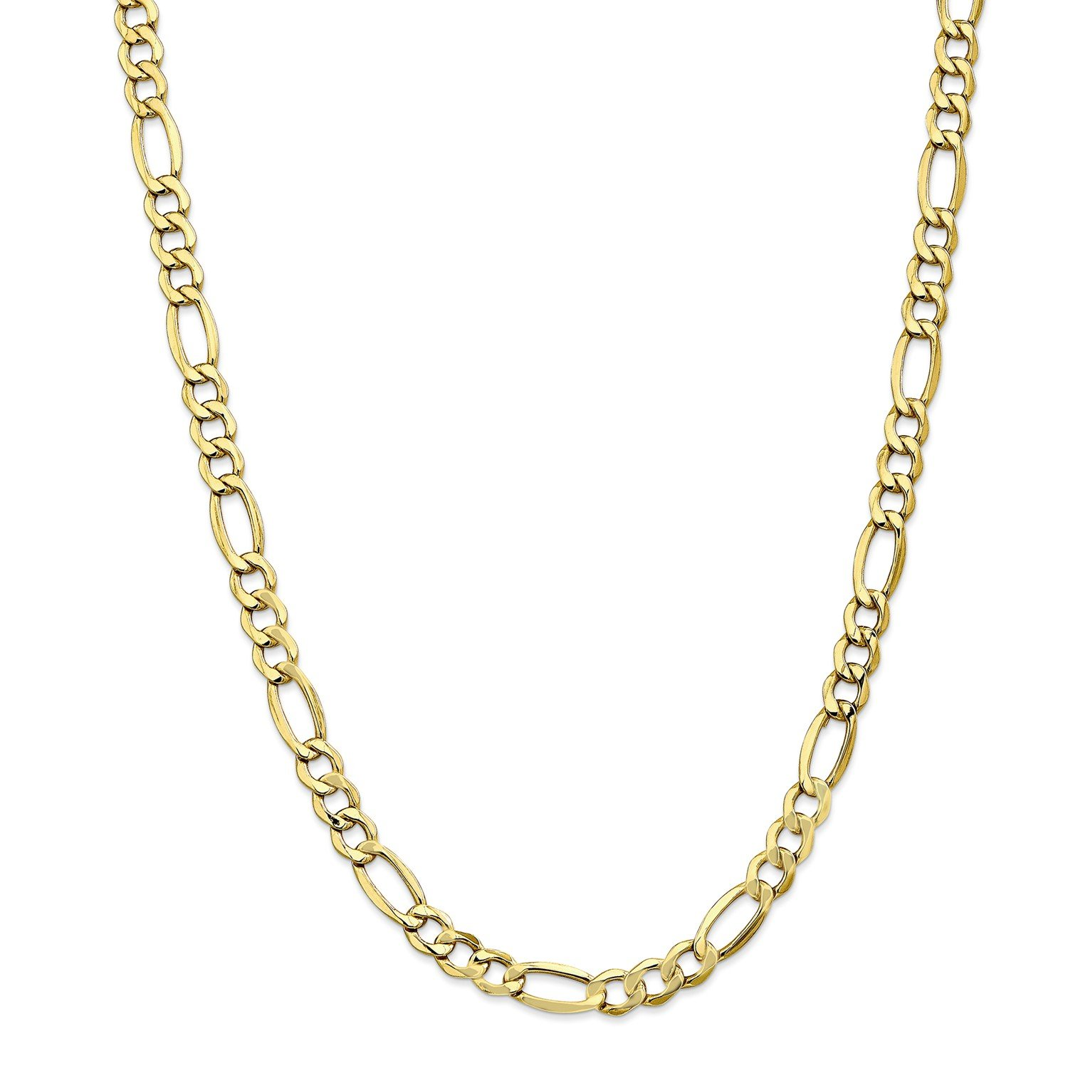 Roy Rose Jewelry 10K Yellow Gold 7.3mm Semi-Solid Figaro Link Chain Bracelet ~ Length 7'' inches