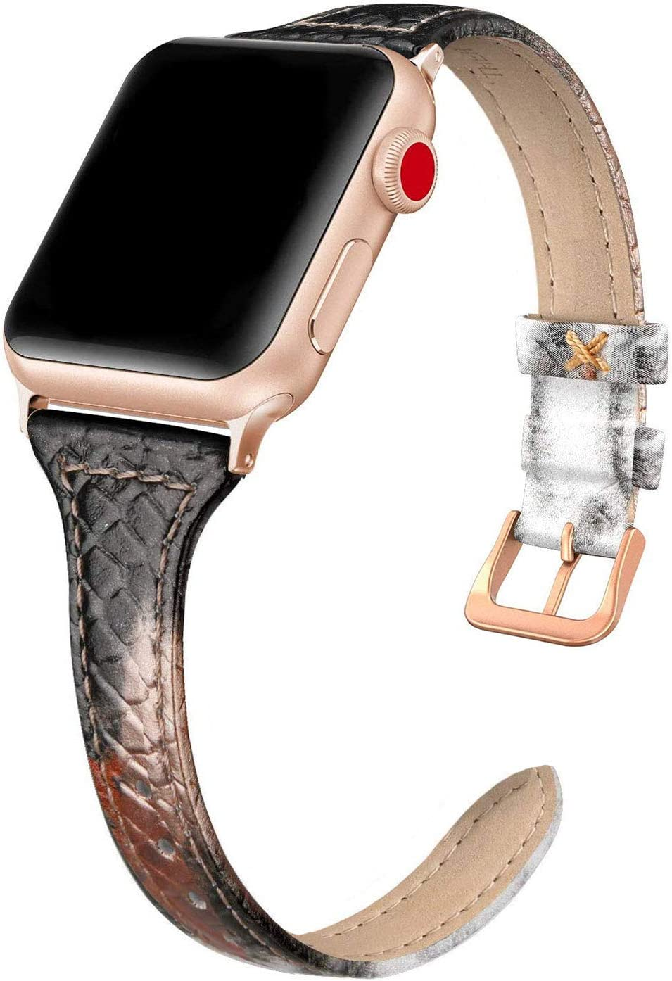 SWEES Leather Band Compatible for iWatch 38mm 40mm, Slim Thin Genuine Leather Strap Compatible for iWatch Series 6, 5, 4, 3, 2, 1, SE, Sport & Edition Women, Snake Black/Gold