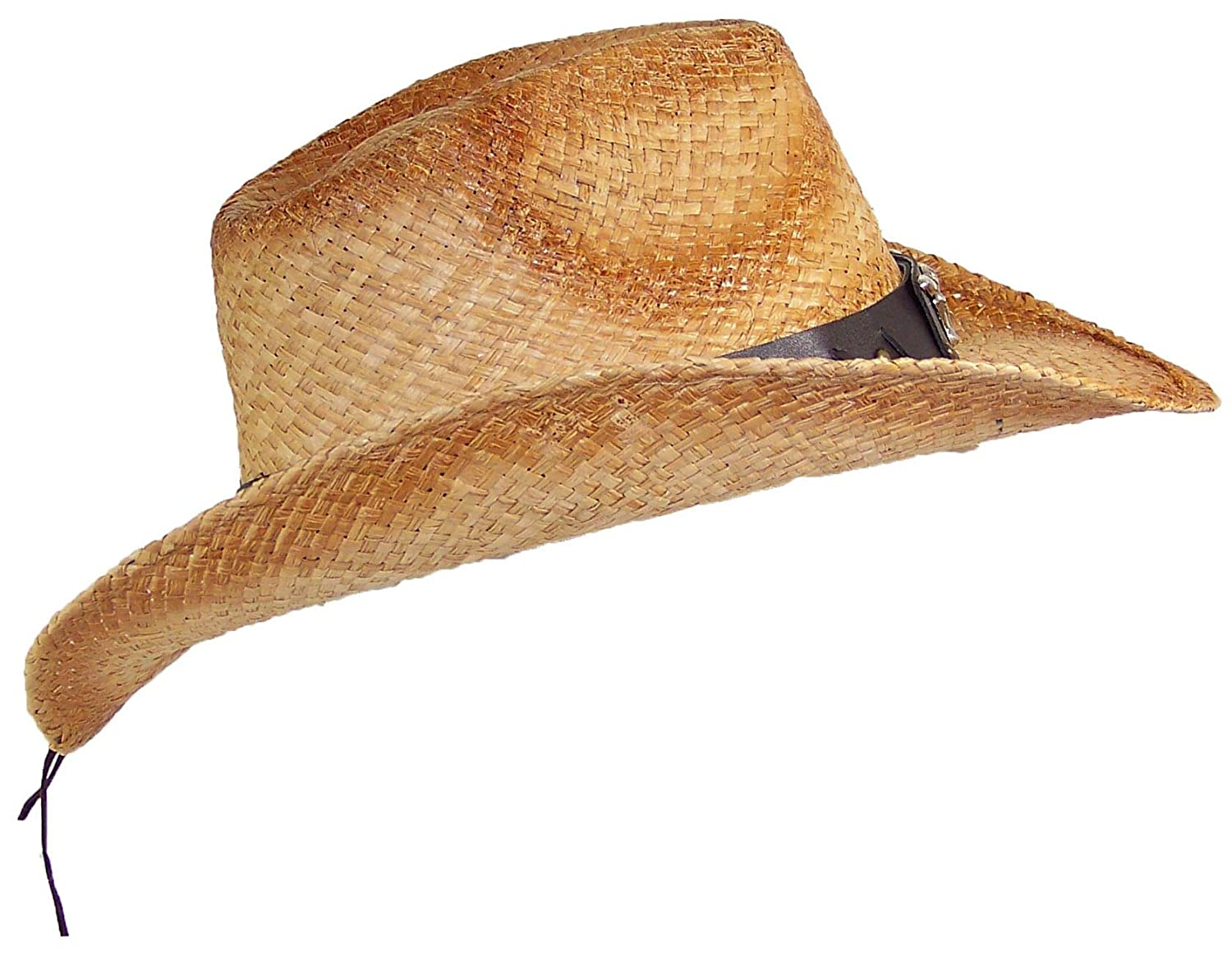 One Size Stone Age Adult Straw Cowboy Hat W//Band W//Large Metal Longhorn