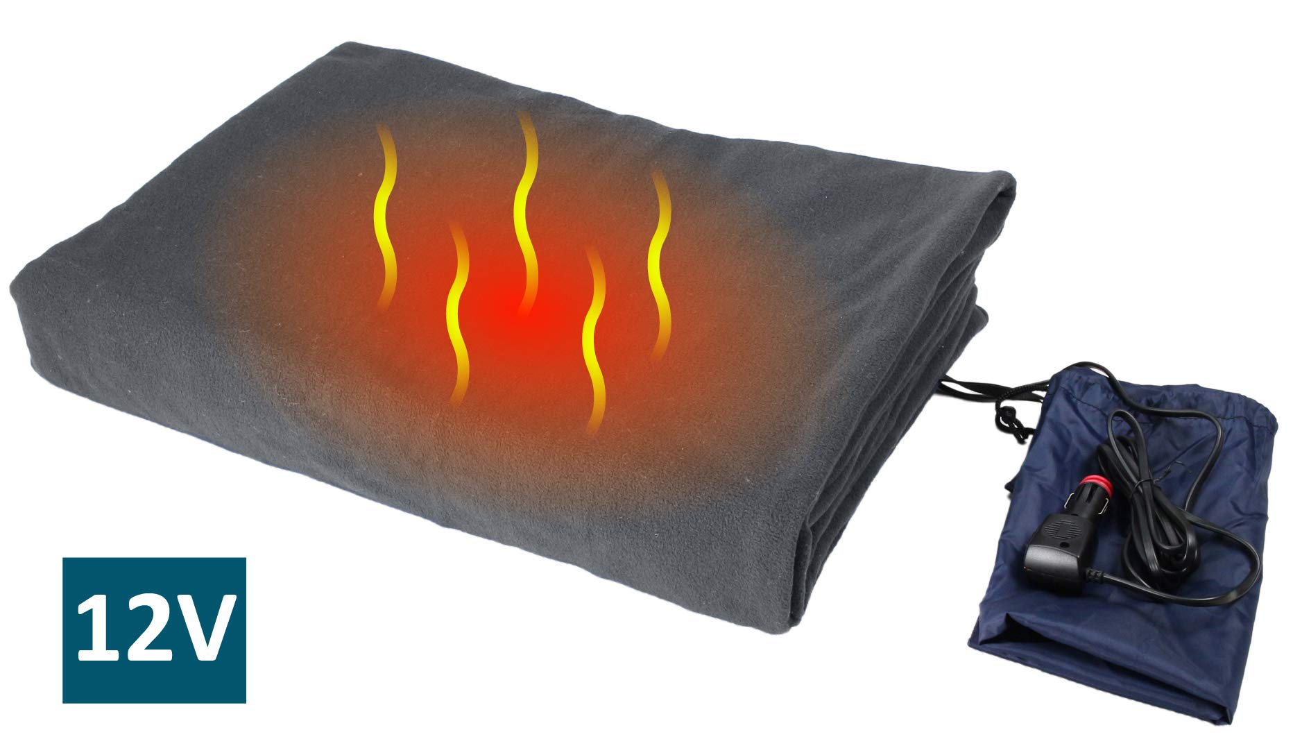 ObboMed SH-4210G Ultra-Soft Deluxe Electric 12V, 60W Luxurious Comfy Polar Fleece Heated Travel Car Blanket, with Premium Cigarette Lighter Plug for Automobile, Vehicle, Gray, Size 61'' x 41.3''