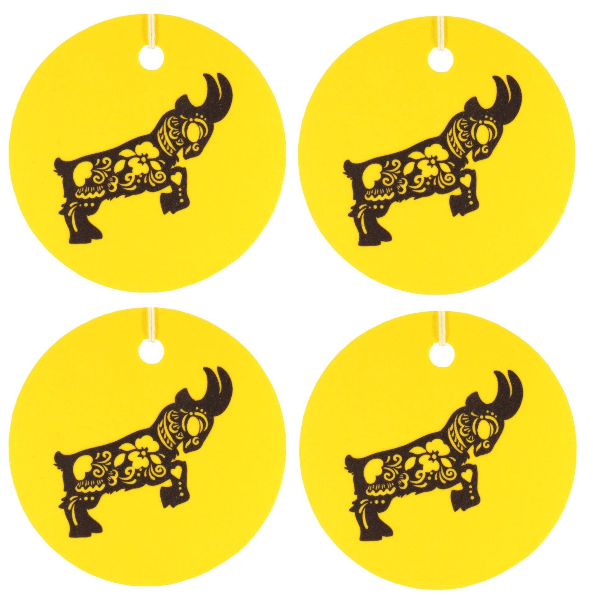 Set of Four Chinese Zodiac, Goat, Air Fresheners, Cedarwood Essential Oil
