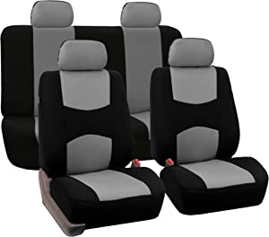 FH Group Universal Fit Full Set Flat Cloth Fabric Car Seat Cover, (Gray/Black) (FH-FB050114, Fit Most Car, Truck, Suv, or Van)