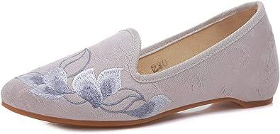 Hanfu Estilo Chino Con Tinta China De Loto Bordado Flor Puntiagudo Zapatos De Tela Marfil Ivory 35 Eu Amazon Es Zapatos Y Complementos
