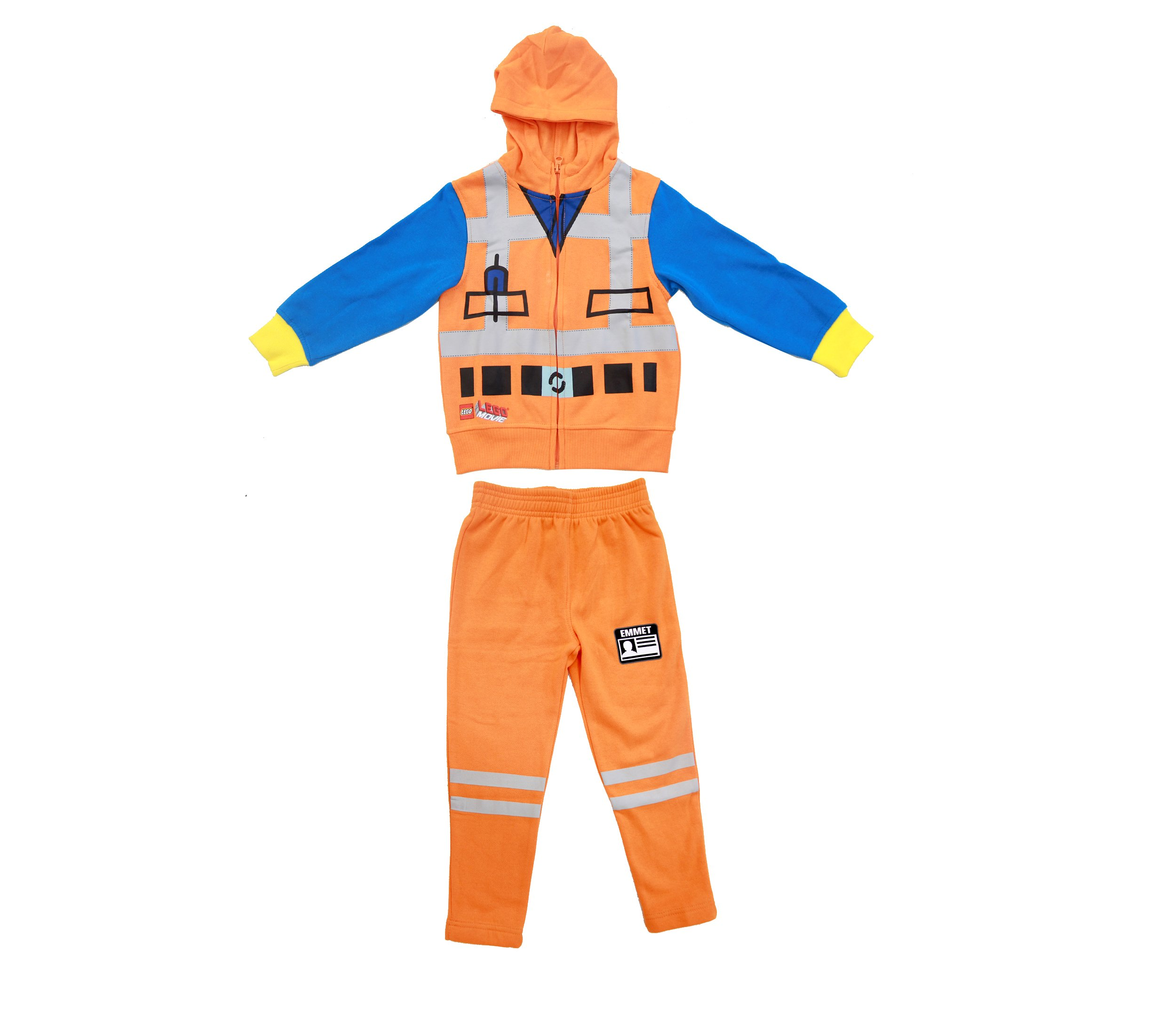 Lego Movie Emmet Orange Boys Two-Piece Zip-Up Costume Hoodie & Sweatpants Set (7)