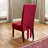 Sure Fit Duck Solid - Shorty Dining Room Chair Slipcover - Claret (SF33881)