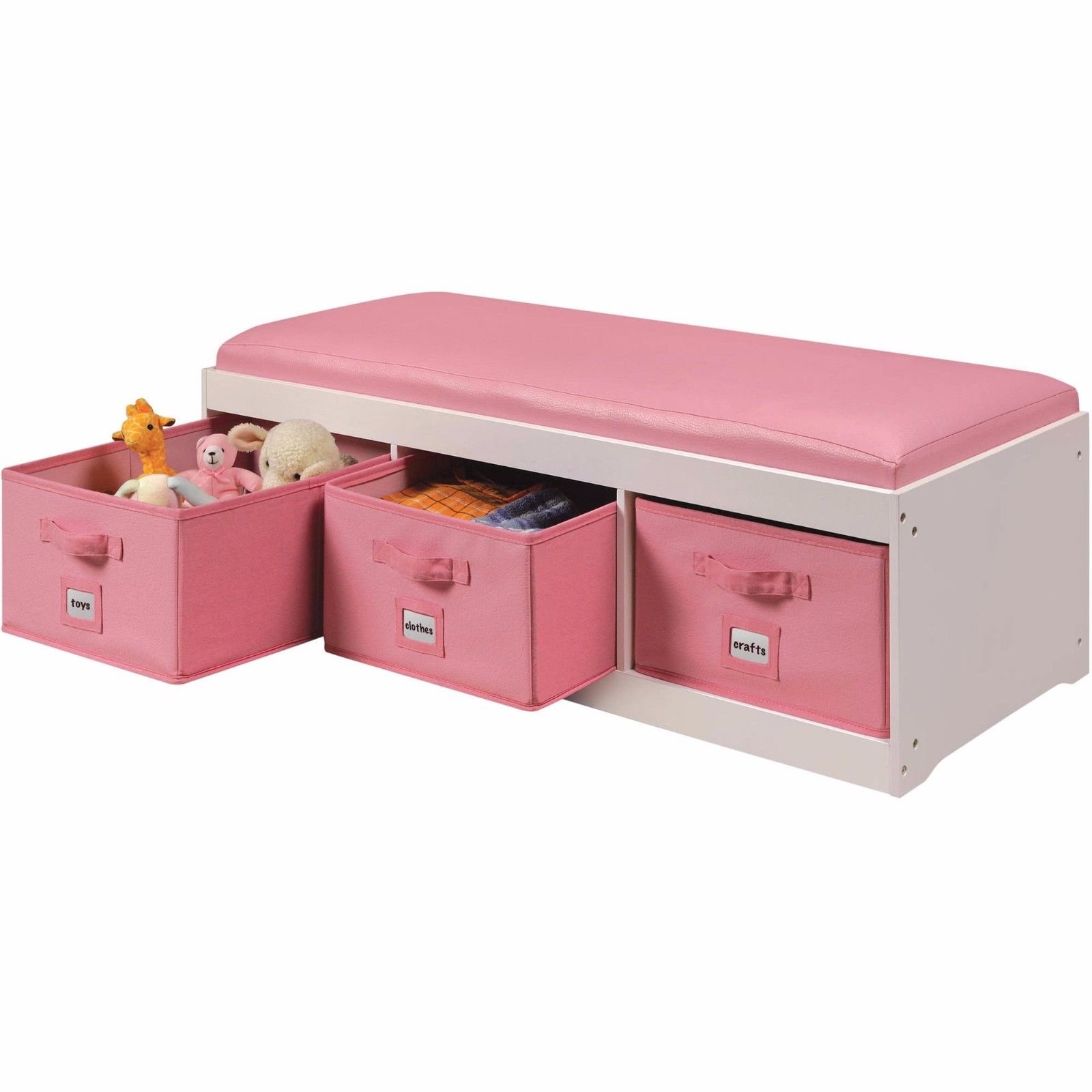 Storage Bench Seat Drawer Basket Organizer Faux Leather Cushion 3 Bins, Pink