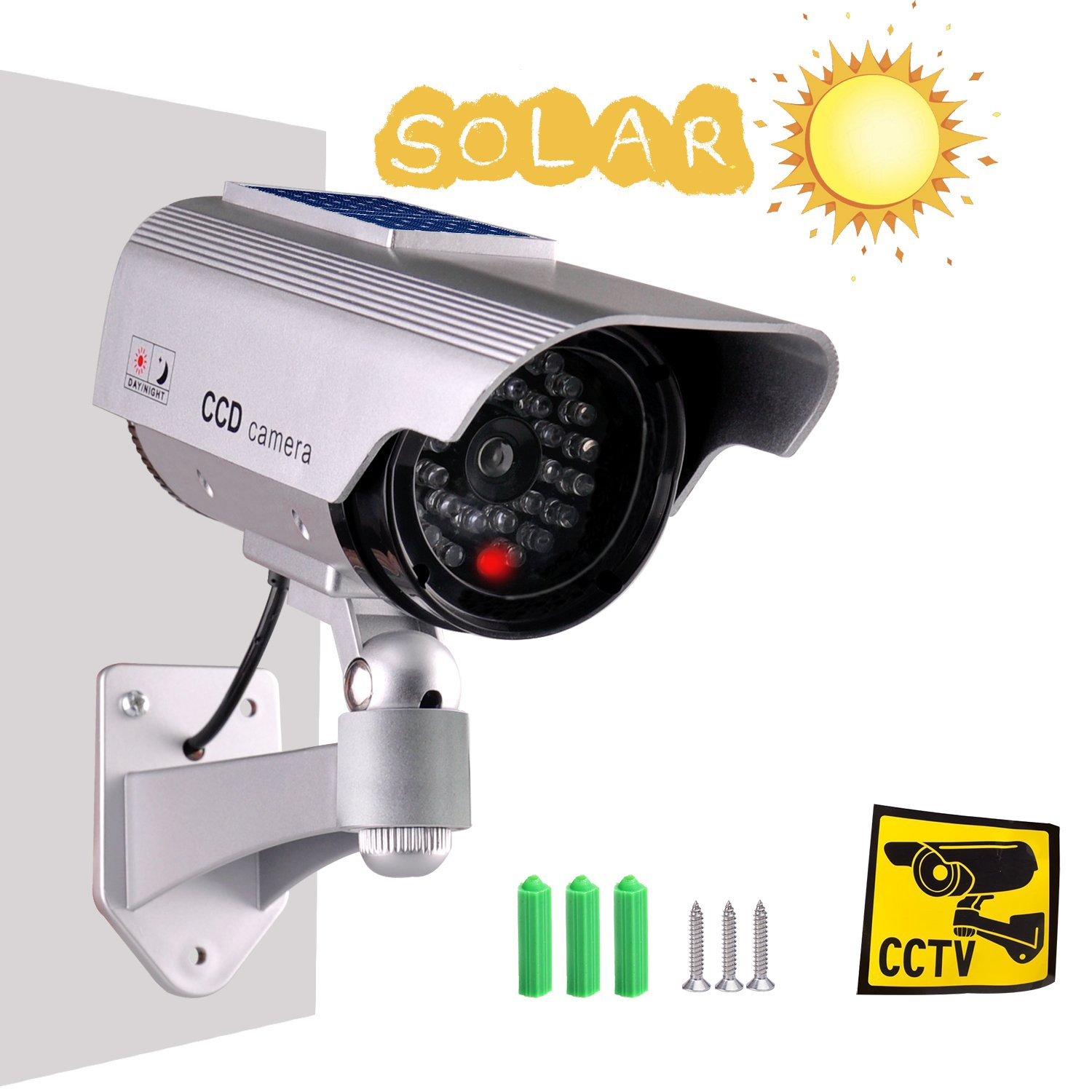 Iseeusee Solar Powered Dummy Surveillance Bullet Fake Camera with Flashing Led-Grey Battery Recharged by Sun, Home or Business, Silver by iseeusee